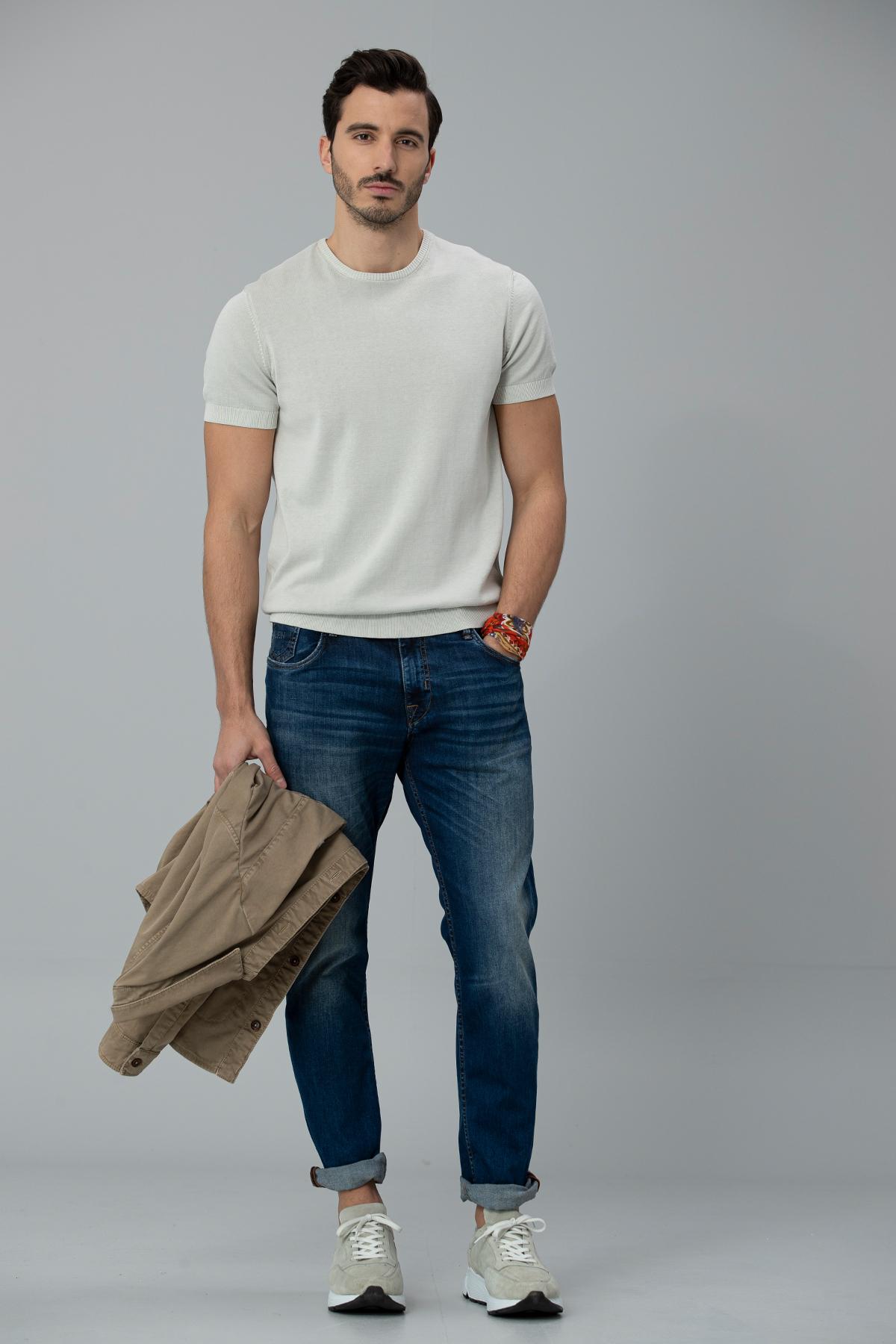 Aler Pamuk Erkek Triko Tişört Taş