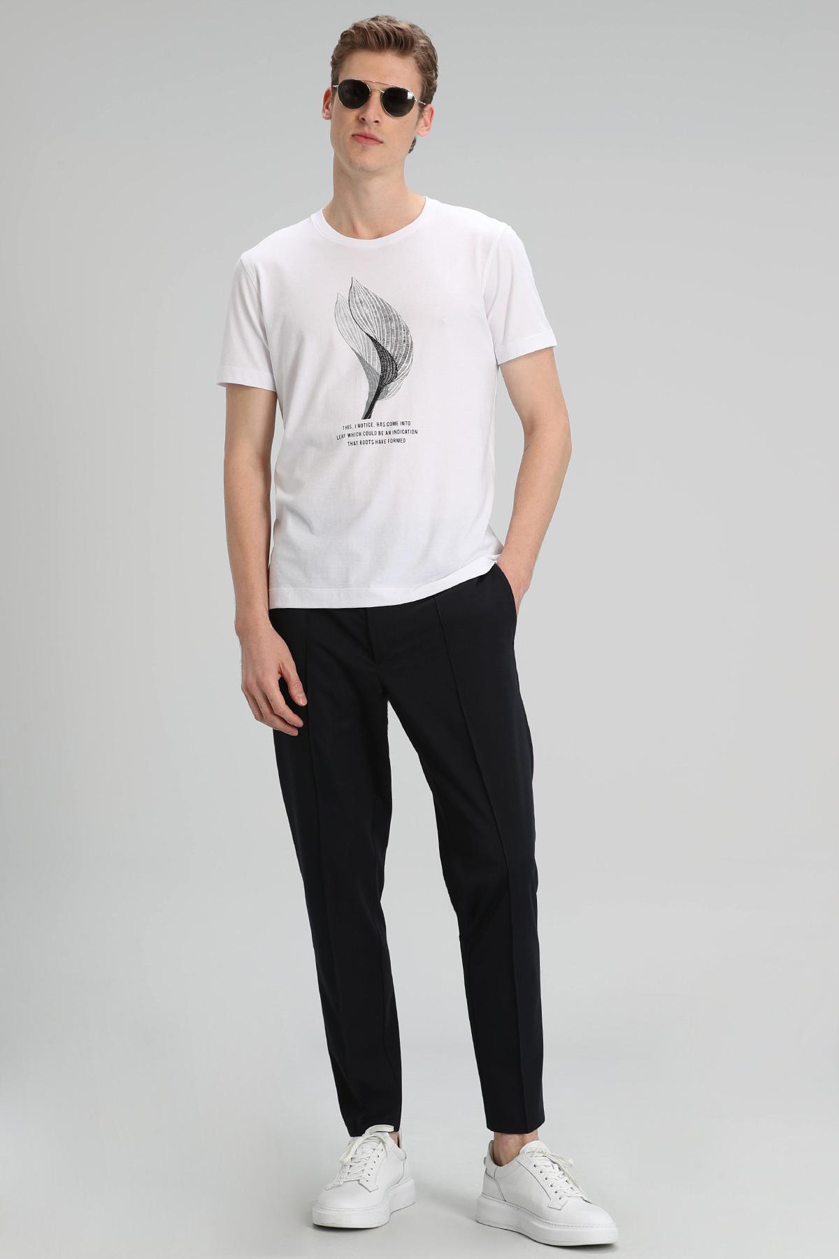 Alper Modern Grafik T- Shirt Beyaz
