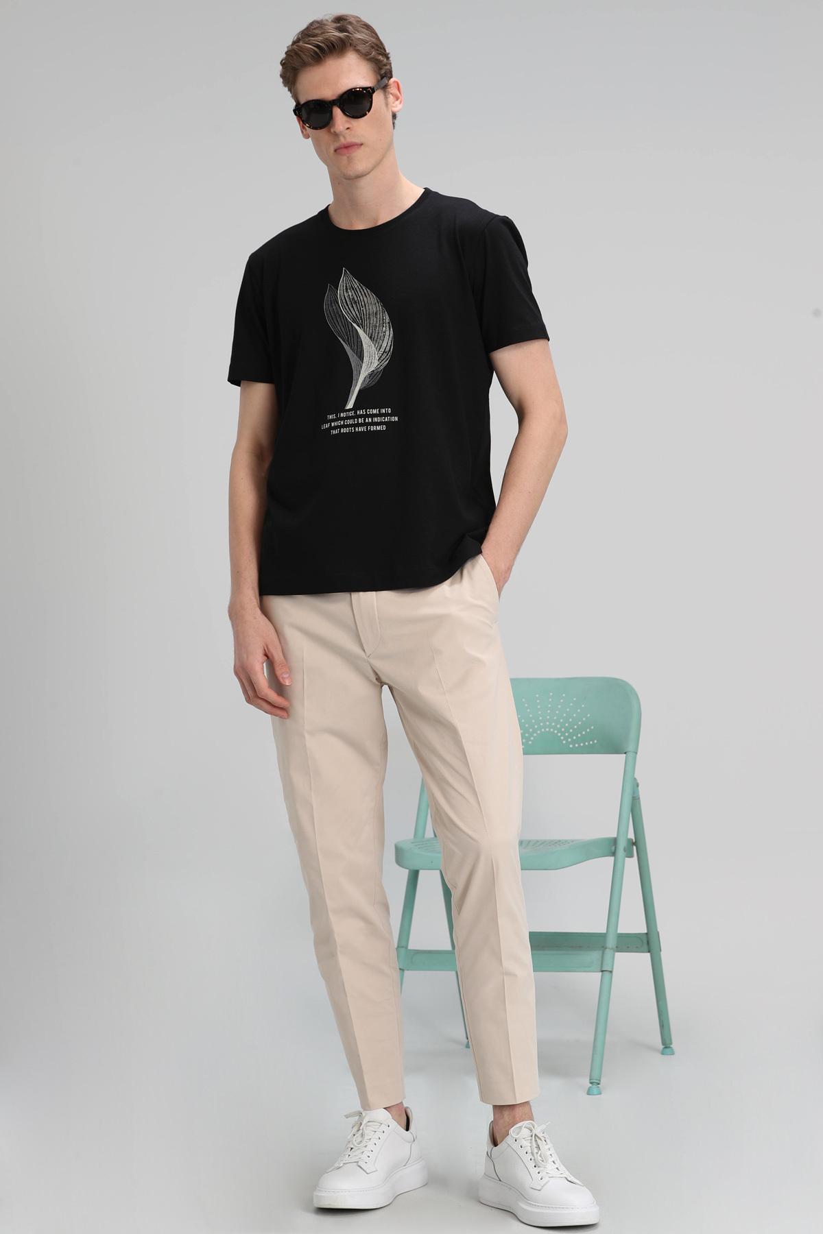 Alper Modern Grafik T- Shirt Siyah