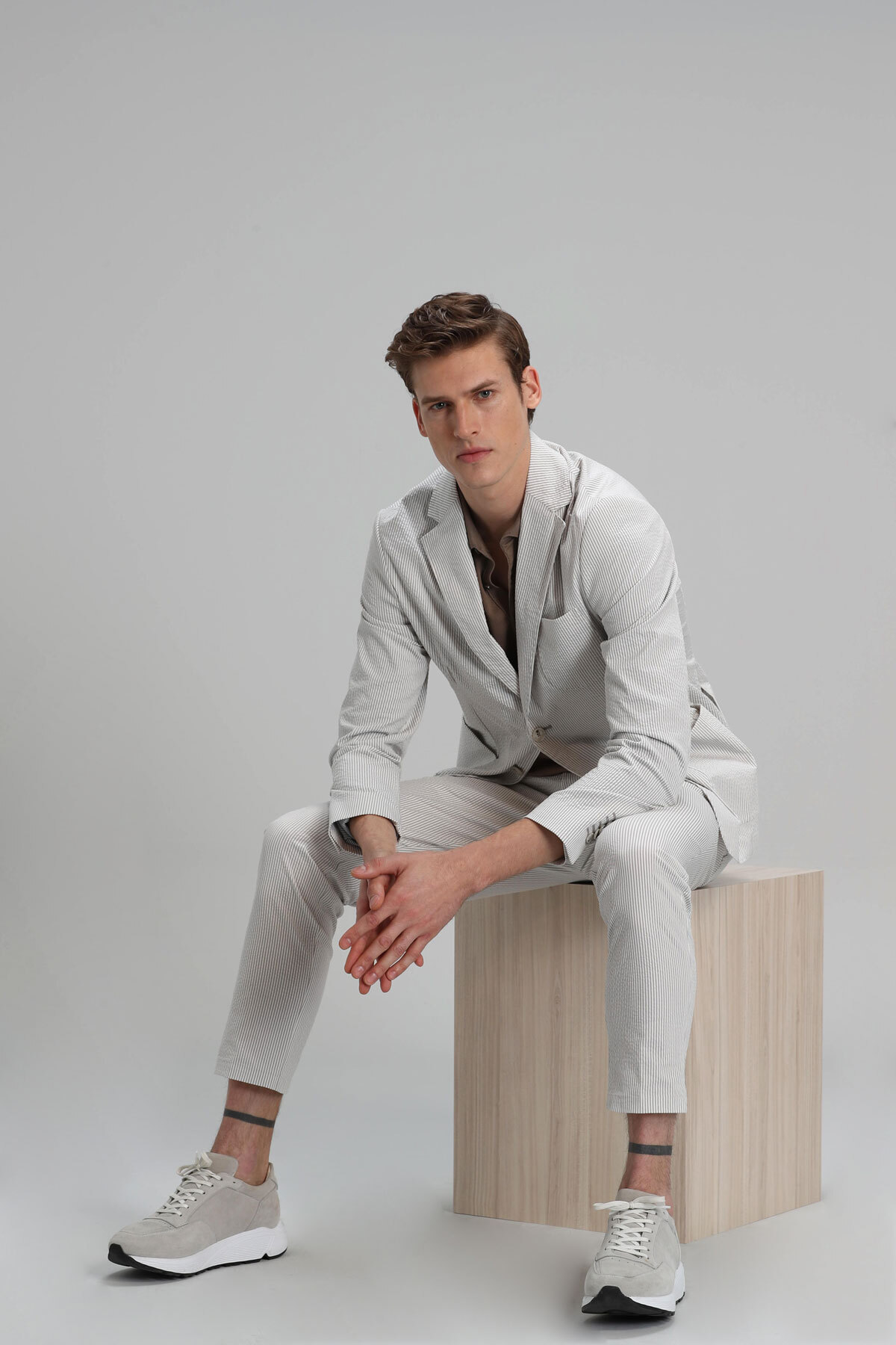 Anton Spor Blazer Ceket Slim Fit Bej