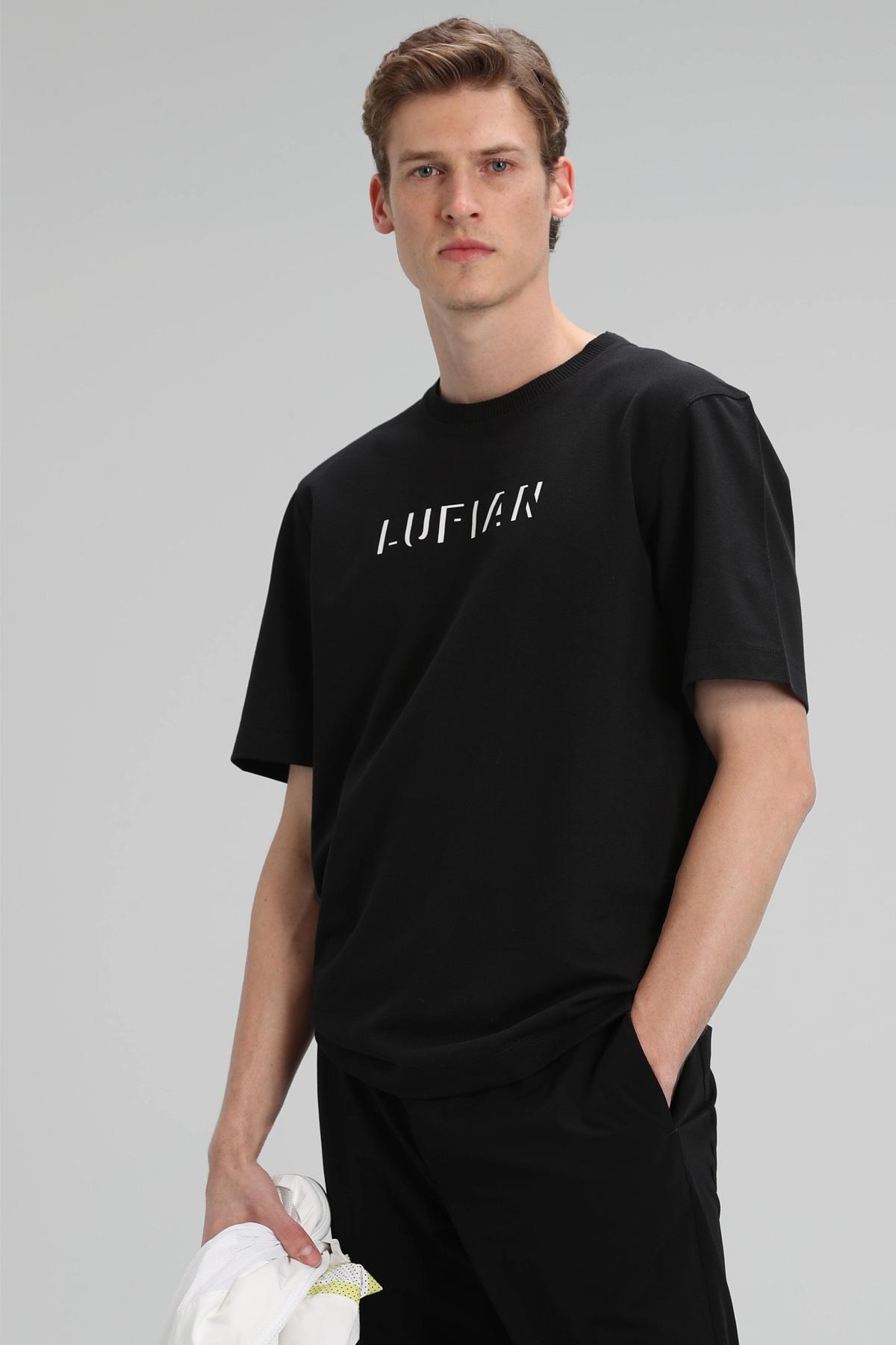 Asen Modern Grafik T- Shirt Siyah