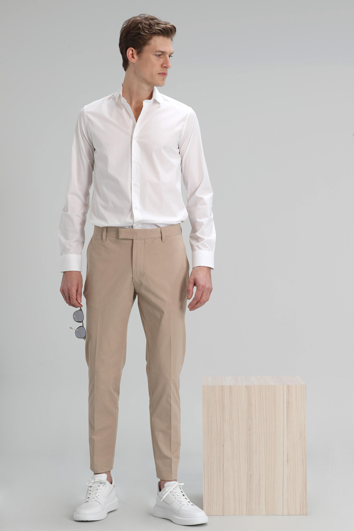 Austın Erkek Basic Gömlek Slim Fit Beyaz