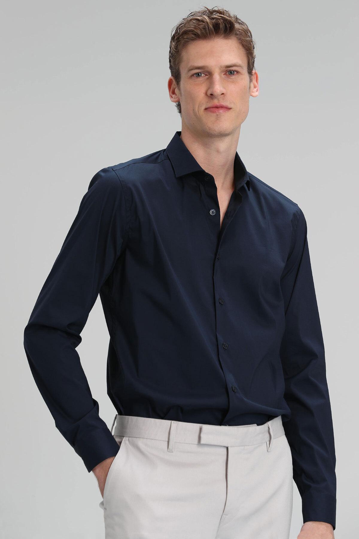 Austın Erkek Basic Gömlek Slim Fit Lacivert