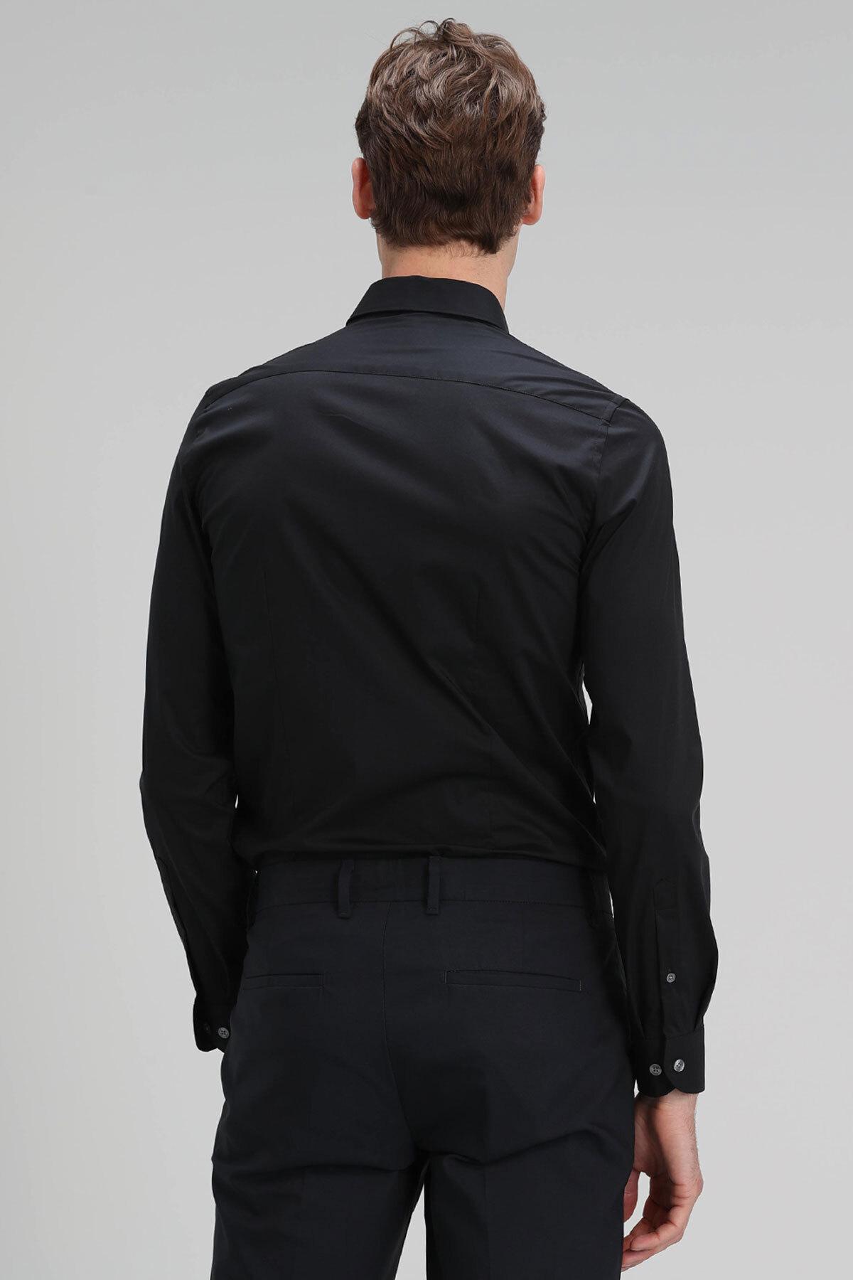 Austın Erkek Basic Gömlek Slim Fit Siyah