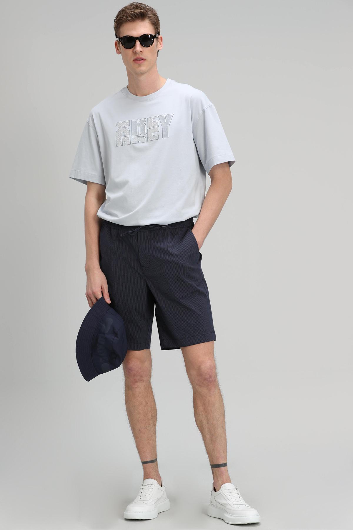 Bonn Modern Grafik T- Shirt Mavi