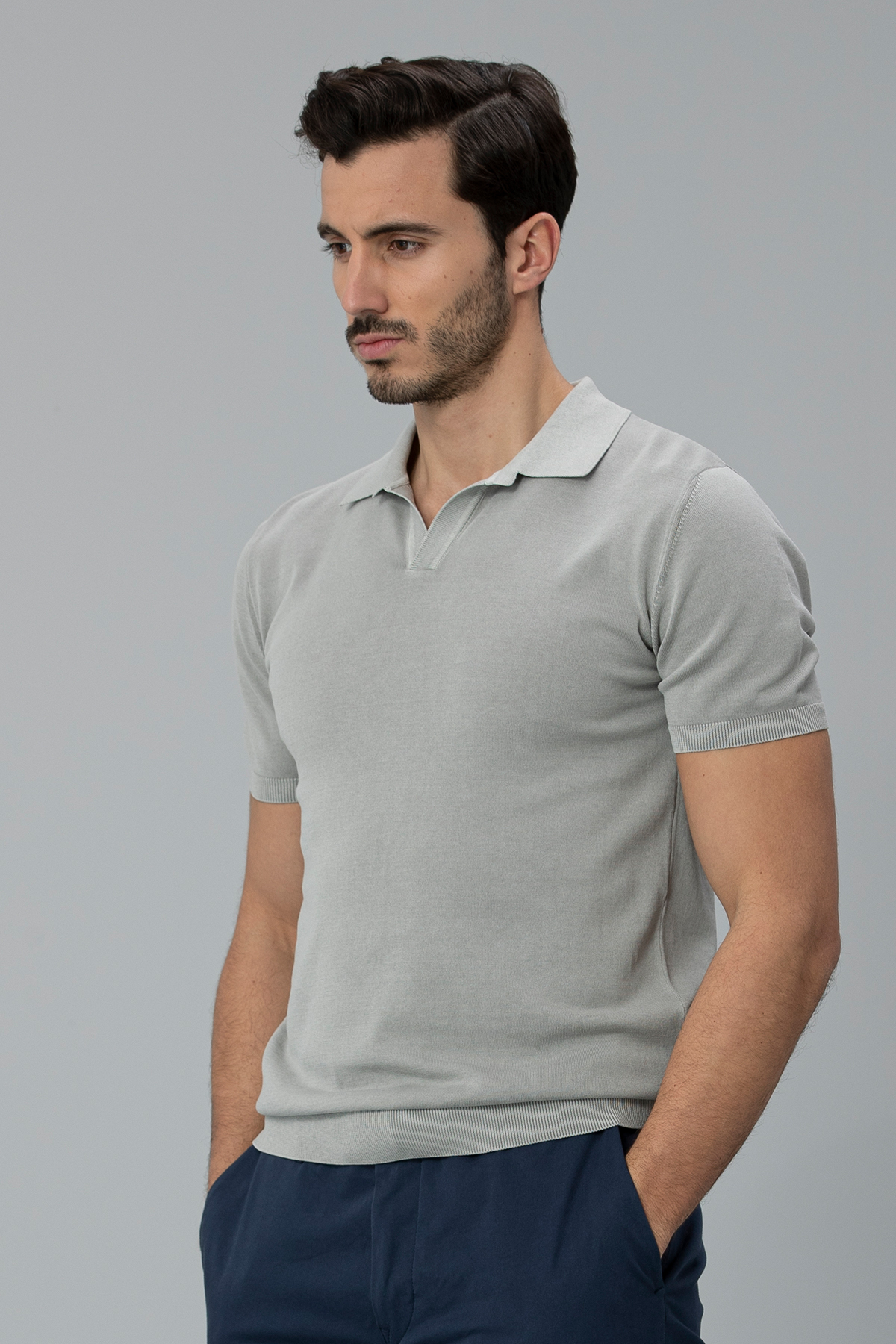 Lansa Pamuk Erkek Polo Tişört Gri