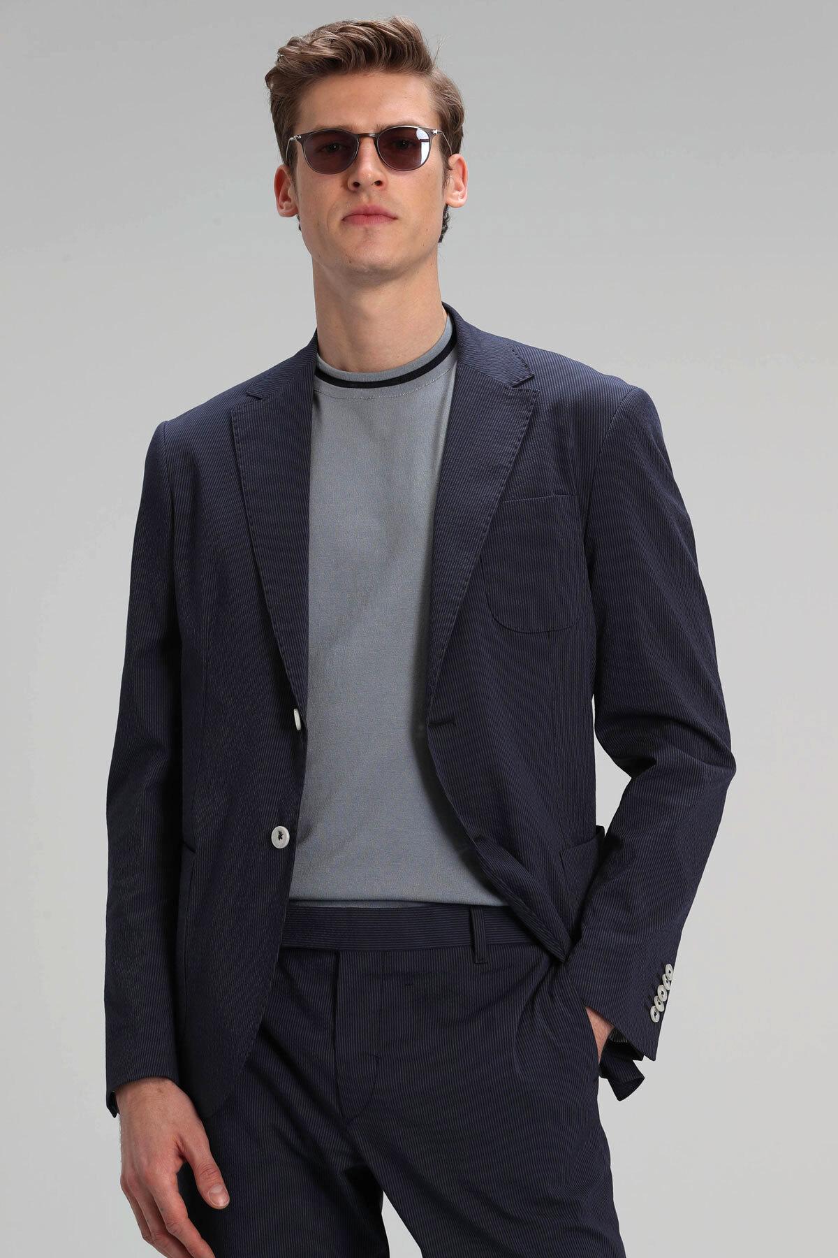 Mendo Spor Blazer Ceket Slim Fit Lacivert