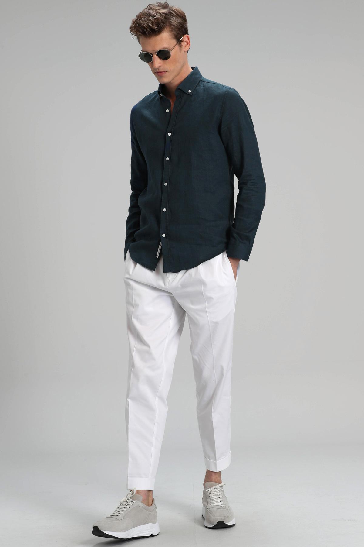 Pitaya Erkek Keten Gömlek Comfort Fit Açık Lacivert
