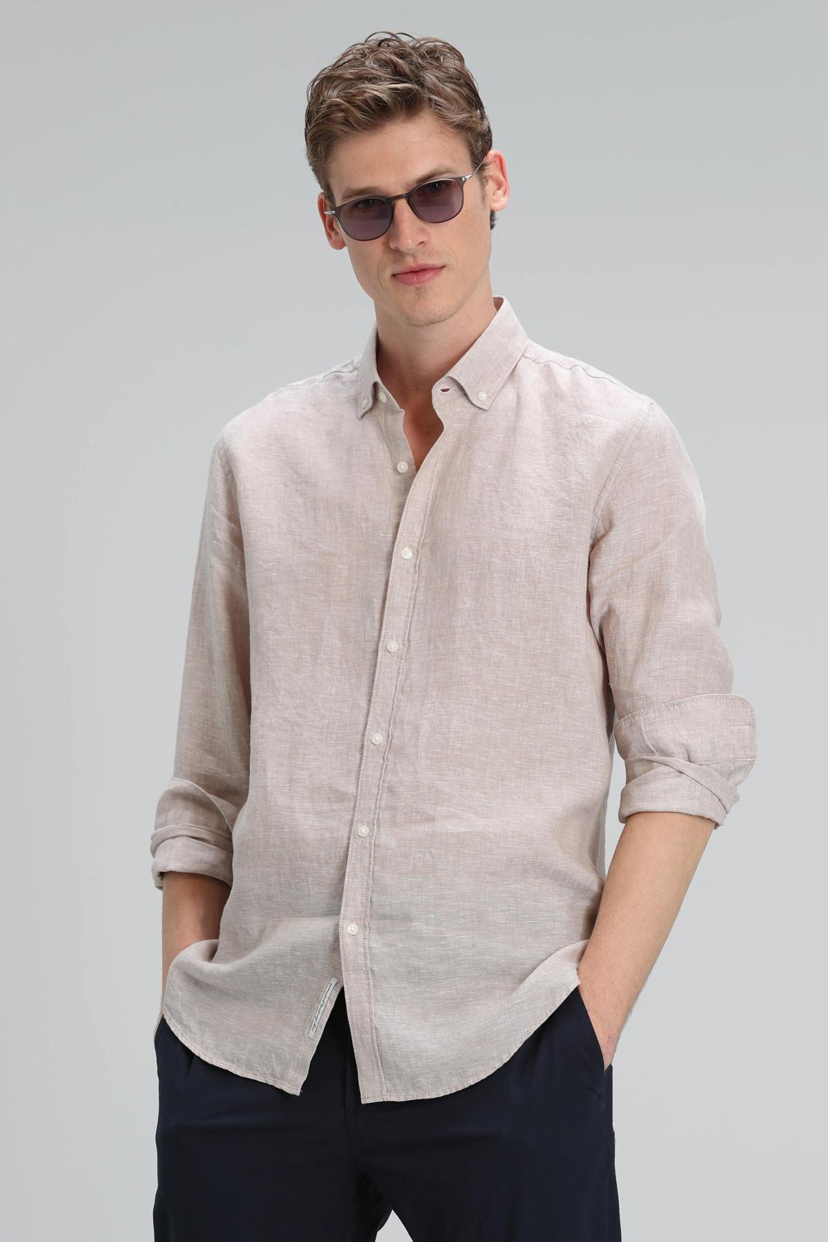 Pitaya Erkek Keten Gömlek Comfort Fit Bej