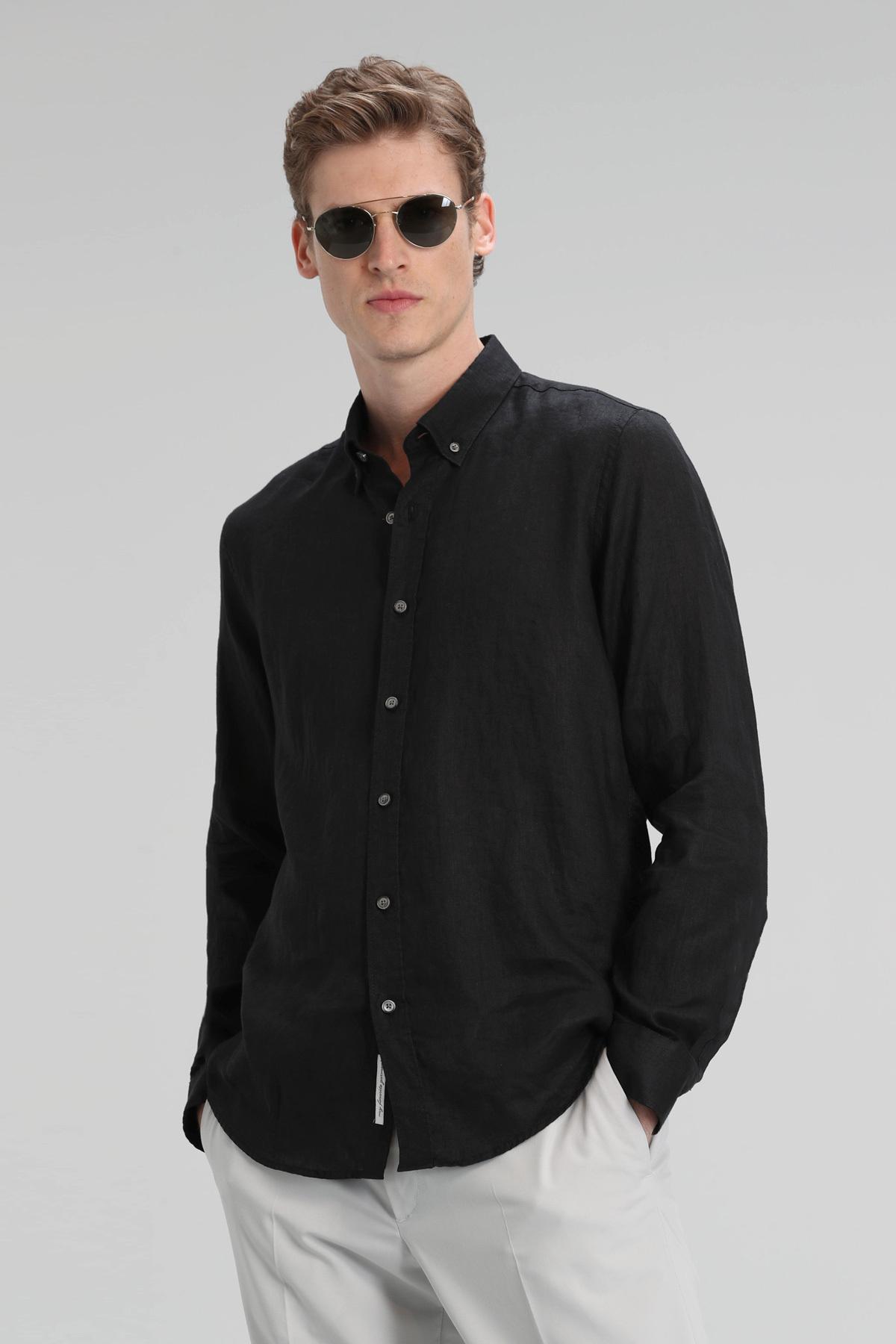 Pitaya Erkek Keten Gömlek Comfort Fit Siyah