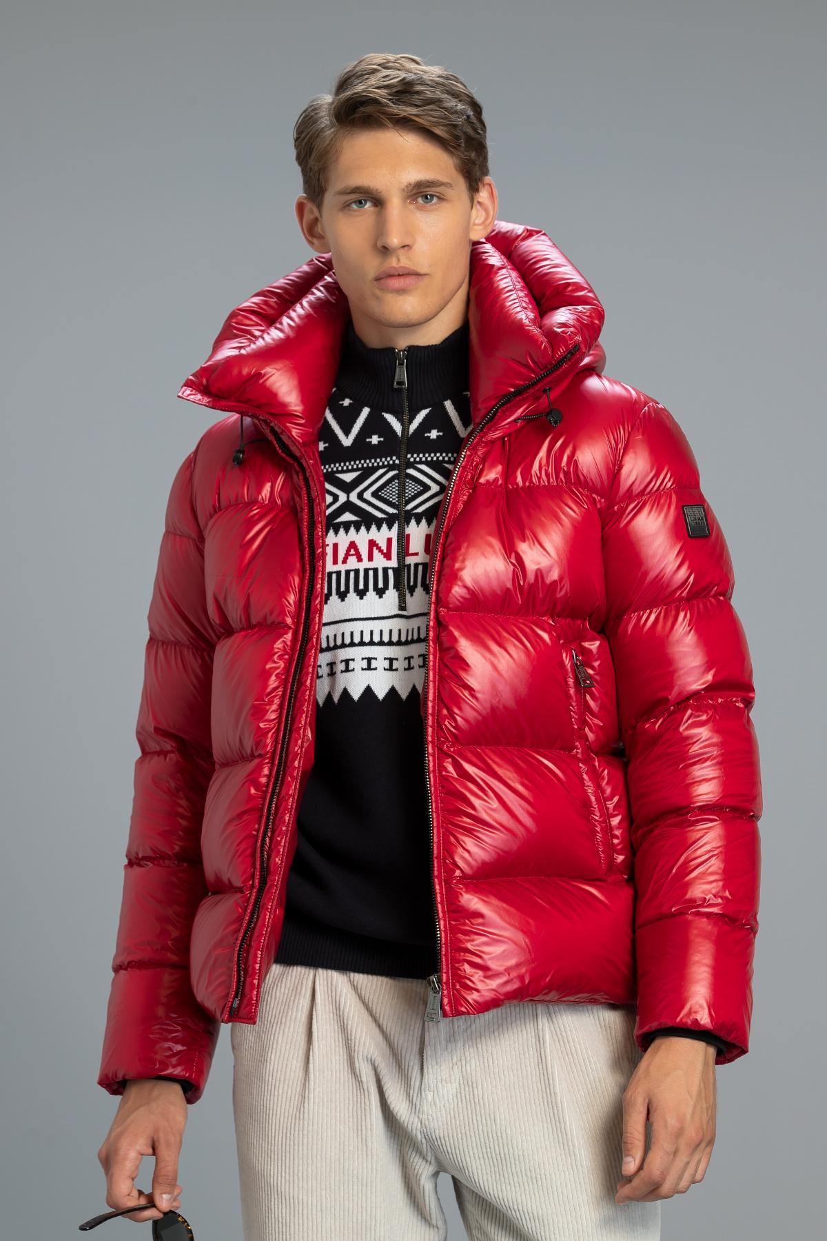 Sander Kaz Tüyü Mont Kırmızı