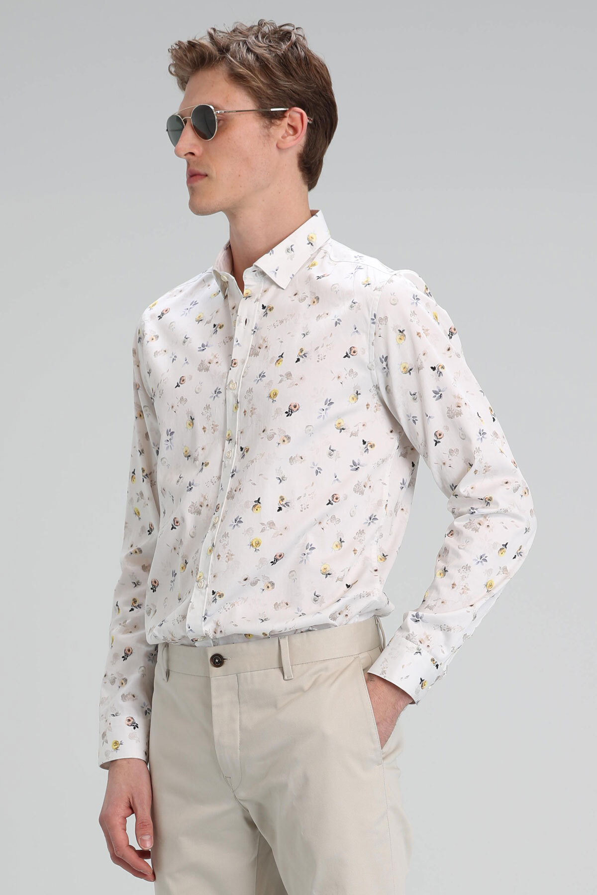 Zande Erkek Smart Gömlek Slim Fit Bej